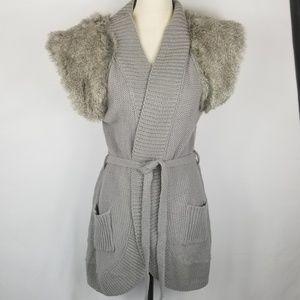 Vertigo Sweaters - NWT Vertigo Faux Fur Open Front Sweater